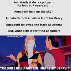 Annabeth. For some reason I read the emperor's part with a scottish voice. Matches the facial expression, I guess.