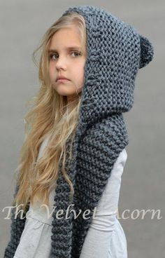 Knitting Pattern for Adult and Child Sized Hooded Scarf - The Tuft Hooded Scarf is a quick knit in super bulky yarn. Sizes are for months, Toddler, Child, Teen, AdultDiscover thousands of images about The Elwood Hooded Scarf crochet patternCollar Collar O Baby Knitting Patterns, Knitting For Kids, Loom Knitting, Crochet Patterns, Free Knitting, Diy Tricot Crochet, Crochet Baby, Hooded Scarf Pattern, Hooded Cowl