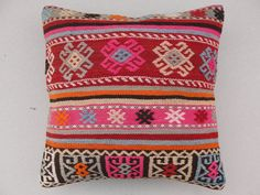 VINTAGE Decorative KILIM PILLOW Cover, Kilim Pillow - 16 x 16 Inches - Turkish Pillow - Ethnic Pillow - Tribal Pillow - Home Decor