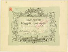 HWPH AG - Historische Wertpapiere - Flensburger Export-Brauerei Flensburg, 01.08.1889, Aktie über 1.000 Mark, später auf 300 RM umgestempelt, #680