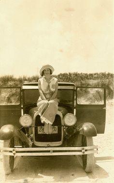 Sailor Girl on Automobile at Daytona Beach