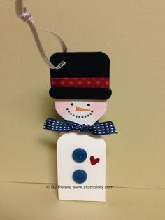 Snowman Treat Tag or Holiday ornament.  Cute and easy.  Uses Envelope punch board.