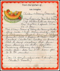 Family Recipe Friday - Chicken and Dressing Casserole #genealogy #familyhistory