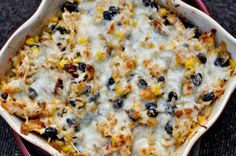 Cheesy chicken and rice bake - brown rice, black beans, sounds delicious and not all that bad for you!