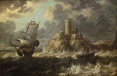 Bonaventura Peeters the Elder (Antwerp 1614-1652 Hoboken)  Lot 1248: Bonaventura Peeters the Elder (Antwerp 1614-1652 Hoboken)  Estimate: $5,000 - $8,000    Description: Shipping off the coast with a castle in the distance unsignedoil on canvas11 x 16 1/2in (28 x 42cm)