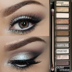 Prom Silver Eyeshadow using the Naked 2 palette
