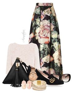 A fashion look from August 2016 featuring pink lace top, metallic maxi skirt and gucci footwear. Browse and shop related looks. Pink Lace Tops, Church Outfits, Pink Outfits, Complete Outfits, Maxi Skirts, Maxi Dresses, Kendra Scott, Miss Selfridge, Long Sleeve Shirts