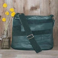 SALE recycled green leather sling bag purse by stacylynnc on Etsy, $40.00