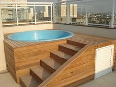 Side stairs by jacuzzi with storage underneath Small Pool, House, New Homes, Hot Tub Surround, Swimming Pools, Jacuzzi, Jacuzzi Room