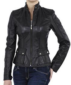 SkinOutfit Womens Stylish Slimfit Lambskin Motorcycle Biker Leather Jacket WJ 146 Black XS *** Read more at the image link.