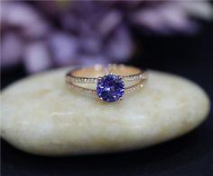 Items similar to Tanzanite Engagement Ring Round Natural Tanzanite Wedding Ring Solid Rose Gold Ring Promise Ring Anniversary Ring Bridal Ring on Etsy Tanzanite Engagement Ring, Diamond Engagement Rings, Engagement Jewelry, Ring Ring, Bijoux Tanzanite, Tanzanite Rings, Pretty Rings, Beautiful Rings, Bridal Rings