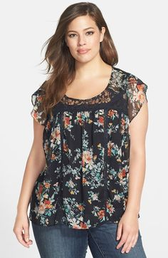 Jessica Simpson 'Clementine' Lace Inset Babydoll Top (Plus Size) available at #Nordstrom