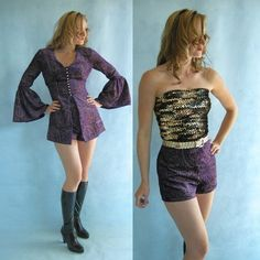 PURPLE and Gold Velvet Vintage 70s Hot Pants Mini Dress S by empressjade on Etsy from etsy.com
