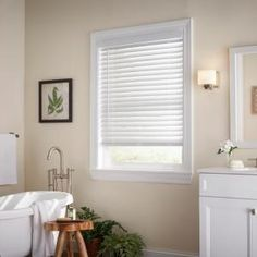 The cordless design is safer for children and pets. standard valance and features a unique embossed wood grain texture that gives the appearance of real wood. NEW White Cordless Faux Wood Blind with 2 in. Shabby Vintage, My Living Room, Living Spaces, White Faux Wood Blinds, Bathroom Window Treatments, Bathroom Blinds, Master Bathroom, Bathrooms, Wood Grain Texture