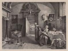 Burgerweeshuis. De linnenwinkel, met op de voorgrond twee weesmeisjes en een poes spelend met een breiwerkje. makers: C.W. Mieling en Huib van Hove 1851 Collectie Stadsarchief Amsterdam #NoordHolland #Amsterdam #wezen #burger