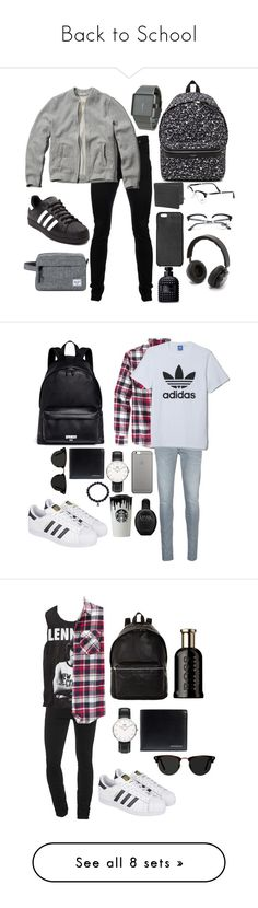"""""""Back to School"""" by michaelwhittemore ❤ liked on Polyvore featuring Vivienne Westwood Anglomania, Abercrombie & Fitch, adidas, Nixon, Yves Saint Laurent, 1 Voice, Persol, Michael Kors, B&O Play and Herschel Supply Co."""