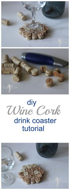 A quick and cute DIY Wine Cork Drink Coaster Tutorial - Cut the corks in thirds, sand off rough edges, hot glue together!@jeannie2213 Love this!
