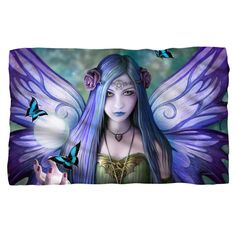 This soft fleece blanket is actually a work of art. Truly it is! Designed from a painting called Mystic Aura by artist Anne Stokes this beautiful fairy with pur