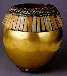 Ostrich Egg    Object Number: B16692  Provenience: Iraq  Ur  Section: Near Eastern  Materials: Ostrich Egg Shell  Gold  Limestone  Lapis Lazuli  Bitumen  Sandstone  Iconography: Ostrich Egg  Description: CBS Register: gold ostrich egg. inlaid.The Royal tombs of UR.