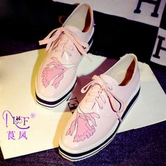 67.32$  Watch more here - http://aixxz.worlditems.win/all/product.php?id=32720437409 - Fashion Graffiti Blue Pink Cowhide Square Toe Crossed Lace-up Thick Crust Creepers Medium Slope Heels Women Wedges Shoes