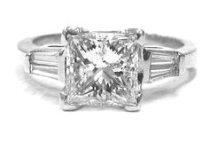 Princess and baguette diamond engagement ring 1.60ctw by KNRINC, $4199.00