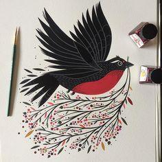 ❤️finished and the original available, soon the prints! terminado y disponible el original...algunas reproducciones luego! #painting #art #artist #artwork #bird #birds #chile #loica #aves #2017 #happynewyear #newyear #goodomen #designspiration #buenaugurio #instadaily #instagood #love #instamood #fun #instagram #photooftheday #picoftheday #illustration #ink #acrylic #art_we_inspire