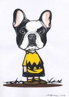 Hommage to Charlie Brown. Sketchbook page , French Bulldog by Jeroen Teunen