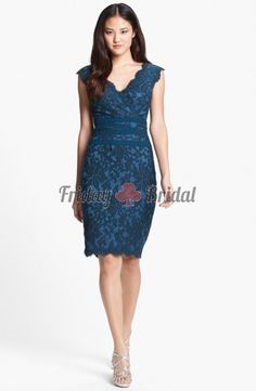 The scalloped v-neck cup sleeve ocean blue lace knee-length bridesmaid dress prom dress