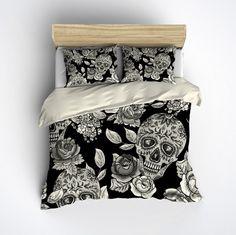 Featherweight Skull Bedding -  Sugar Skull & Rose Pattern on Cream - Comforter Cover - Sugar Skull Duvet Cover, Sugar Skull Bedding Set