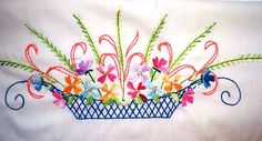 Vintage Pillowcase Basket of Flowers Hand Embroidery by GoodAndOld, $15.00