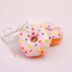 Soft Pink Donut Earrings Miniature Food Jewelry Polymer Clay Handmade by Sweet Clay Creations