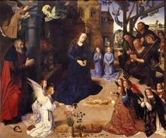 #miniMA140 Todo el mundo, incluso los ángeles, quieren adorar al recién nacido . *Hugo van der Goes