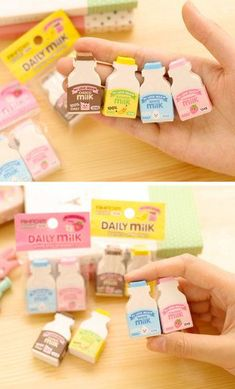 Milk Bottle Series Soft Eraser 2 piece set Mini Soft by TodTots Korean Stationery, Kawaii Stationery, Stationery Items, Eraser Collection, Cool Erasers, Cool School Supplies, School Suplies, Cute Stationary, Kawaii Room