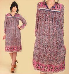 Indian Gauze Cotton Dress ViNtAgE 70's Bohemian India