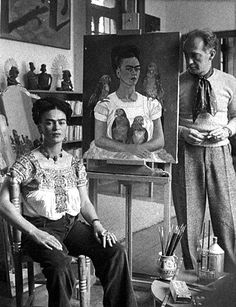 Frida Kahlo with painting, Me and My Parrots