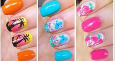 Pretty Artistic Nail Art – wanaabeehere Cute Nail Art Designs, Cute Summer Nail Designs, Cute Summer Nails, Colorful Nail Designs, Simple Nail Designs, Cute Nails, French Nails, Essie, Glitter Azul