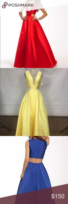 YELLOW Satin Cut-Out Ballgown NOT JOVANI. The second photo is the actual color. I have bever worn this. It is a size 4 unaltered. Brand new no tag. Custom. Looking for more prom? Lmk, i have plenty under $200 Jovani Dresses Prom