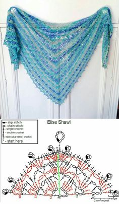 Luna Hobbs's media content and analytics - Stola Stricken Poncho Crochet, Stitch Crochet, Crochet Shawls And Wraps, Crochet Motifs, Crochet Diagram, Crochet Chart, Crochet Scarves, Crochet Clothes, Crochet Lace