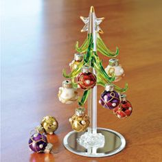 Glass Tree with Ornaments, Miniature Christmas Tree | Solutions