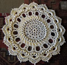 "Crochet ""Splendid"" Doily Rug a Patricia Kristoffersen Pattern This is a fun project that I highly recommend. Instantly rewarding and elegant, but then, all Patricia Kristoffersen's patterns are. Ma..."
