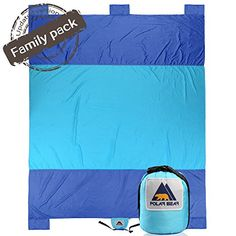 Sand Escape Compact Large Quick Drying Lightweight Durable Parachute Nylon Outdoor Beach Blanket Picnic Blanket Sand Resistant Oversized 7' x 9.5' Blue & Royal Blue. For product info go to:  https://all4hiking.com/products/sand-escape-compact-large-quick-drying-lightweight-durable-parachute-nylon-outdoor-beach-blanket-picnic-blanket-sand-resistant-oversized-7-x-9-5-blue-royal-blue/