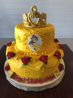 Disney Belle Cake Adrienne & Co. Beauty And Beast Cake, Beauty And The Beast Cake Birthdays, Beauty And Beast Birthday, Belle Birthday Cake, Giraffe Birthday Cakes, 3rd Birthday Cakes, Princesses Disney Belle, Planet Cake, Disney Cakes