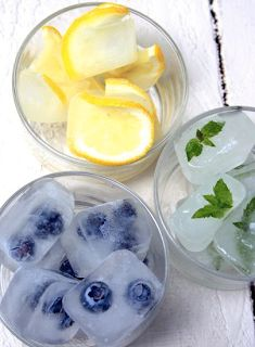Blueberry, lemon, and basil ice cubes