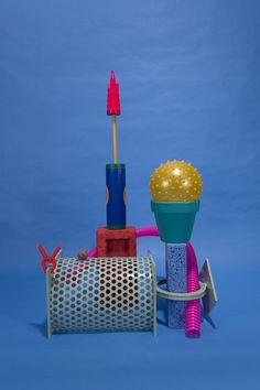 Will Bryant - You Got the Touch 2013,Powder coated steel, clamp, styrofoam insulation, bondo, high gloss latex paint, terracota pot, bouncy ball, sponge, balloon pump, styrofoam brick, whirling whistle tube.