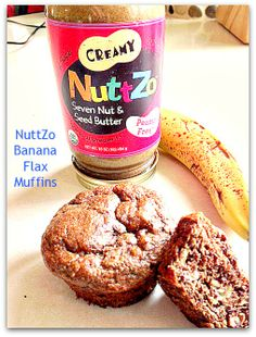 I really want to try this Nuttzo stuff!! It looks really good!  NuttZo Banana Flax Muffins #glutenfree #nosugaradded