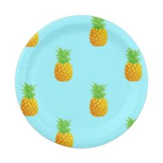 Pineapple Pattern on Blue 7 Inch Paper Plate. A repetitive pattern of simple pineapples on a bright blue background. This is a cute and summery pattern perfect for many occasions.