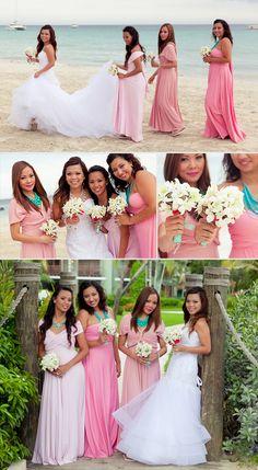 Mismatched Beach Wedding Infinity Bridesmaids Dresses by Coralie Beatrix. Real Wedding: Ann & Joe | Wedding Paper Divas Blog