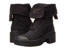 Marc by Marc Jacobs Fold Down Army Ankle Boot Black Canvas - 6pm.com