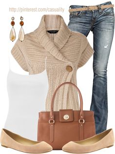 """Wrap Creme Cardigan & Flats"" by casuality on Polyvore"