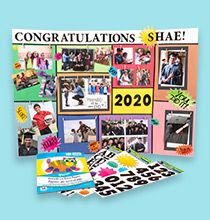 Make your grad's upcoming celebration one that they can always cherish for years to come by making them their very own grad brag board. Graduation Presents, Graduation Celebration, Mini Fairy Garden, Fairy Figurines, Good Luck To You, Terrarium Diy, Hanging Pictures, Woodland Creatures, Print Pictures